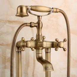 Wholesale Antique Brass Faucet Shower - Antique Bronze Bathroom Phone Mixer Brass Carving Luxury Shower Head Handle Standing Faucet Shower Holder for Basin