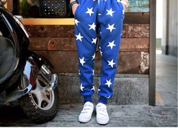 Wholesale Pants Dance Clothing - Fashion Star Printing Mens Joggers Fashion Hip Hop Dance Loose Pants Active Trousers Mens Designer Clothing Size M-2XL