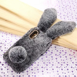 Wholesale Long Black Rabbit Ears - 3D Genuine Rabbit Hair Case For LG G7 Huawei P20 Lite One Plus 6 OnePlus 6 Bling Diamond Fluffy Fur Cover Soft TPU Long Ears Back Skin Cute