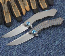 cuchillos plegables para exteriores de mango azul Rebajas Shirogorov 95 luna azul D2 cuchilla TC4 mango de titanio plegable camping cuchillo de supervivencia herramientas de caza al aire libre 1 unids