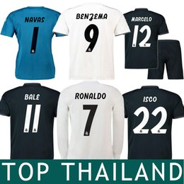 Wholesale yellow long sleeve shirt xl - 18 19 Real Madrid Cristiano Ronaldo Bale Isco Soccer Jersey 2019 Asensio Benzema Kroos Long Sleeve Women Kids Navas Goalkeeper Shirts