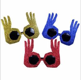 2019 decorazioni cinesi porta nuova anno 2018 new fashion Bar Party Occhiali da party divertenti e divertenti Crea uno spettacolo strano OK gestures glasses Fit Adulti e bambini