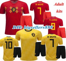 Wholesale quality soccer kits - HAZARD DE BRUYNE 2018 World Cup Home red Belgium soccer Jersey kits NAINGGOLAN LUKAKU KOMPANY MERTENS best quality 18 19 away Football Shirt