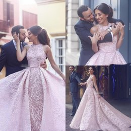 Wholesale dark beauty dress - 2018 New Arabic Blush Pink Lace Women Formal Evening Dresses Over Skirts Sleeveless Tulle Arabic Beauty Queen Pageant Dress Gowns for Prom