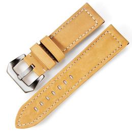 Nueva correa de reloj de cuero genuino retro hecha a mano 26mm 24mm correa de reloj de cuero genuino para PAM para panerai desde fabricantes