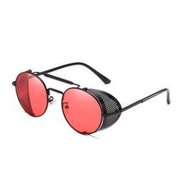 occhiali da sole rotondi steampunk Sconti 2018 New Fashion Round Frame Steampunk Style Side Mesh Occhiali da sole Uomo Brand Designer Vintage Occhiali da sole Oculos De Sol
