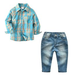 Wholesale 12 Month Boy Jeans - New Posh Spring Boy Clothes Cool Boys Plaid Shirt and Jeans Pant Clothing Set Spring Autumn Kids Clothes Hot Sales