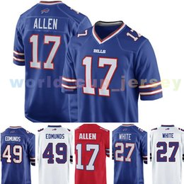 Wholesale new 27 - Buffalo Jersey Bill 17 Josh Allen 27 Tre'Davious White 49 Tremaine Edmunds Football Jerseys 2018 New wholesale Cheap Sale