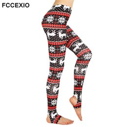 Wholesale Elk Leggings - FCCEXIO Xmas Deers Printed Leggings Women's Step Foot Leggings Retro Comfy Slim High Waist Stretch Fitness Legins Christmas Elk