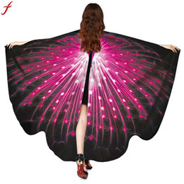 Wholesale Elegant Ladies Costumes - 2018 Women Peacock Wings Shawl Scarves Ladies Poncho Costume Accessory Beach Cover Up Shawl Wrap Elegant Printed Scarves