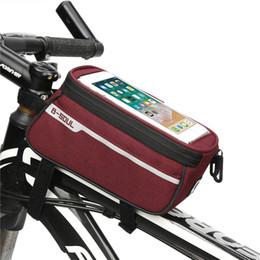 красный m мобильный Скидка B-SOUL Водонепроницаемый Открытый Велоспорт Panniers Горный велосипед сумка для велосипедов Frame Front Tube Bag Panniers Touchscreen Phone Case