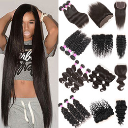 Wholesale mongolian curly hair bundles - Cheap Brazilian Virgin Human Hair Bundles with Closure Straight Deep Body Water Wave Kinky Curly Hair Extensions 3 Bundles with Lace Frontal