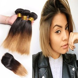 two toned straight hair Promo Codes - Ombre Brazilian Human Hair Bundles With Closure Two Tone Bob Straight Hair 3 Bundles With Closure Non Remy 1B 27 Hair Weaves