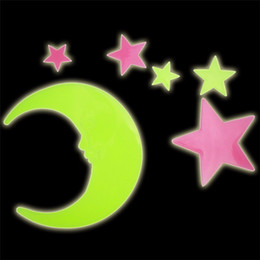 Wholesale 3d Decals For Walls - Star Moon Fluorescent Luminous Wall Sticker Glow In The Dark Stars Eco friendly PVC Decorative Wall Decal Kids Baby Rooms Decoration Sticker