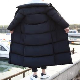Wholesale large mens coats jacket - Winter Korean Slim Fit Mens Long Parka Coats Big Boy Thicken Down Jacket Stand Collar Windbreaker Warm Overcoat Large Size M-4XL
