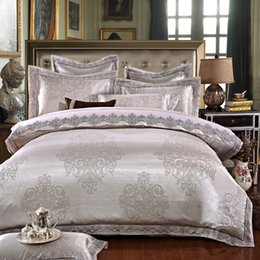Wholesale Luxury Silk Bedspreads King Size - IvaRose Luxury jacquard silk bed linen grey silver gold satin bedding set bedspread queen king size duvet cover sheet set 4 6pcs