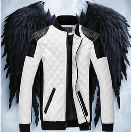 chaquetas fresco moto Rebajas Cuero de la PU chaqueta de color constrast para hombre de moda del collar del soporte exterior de la chaqueta de la motocicleta fresca delgada chaqueta de la capa tops outwear de invierno