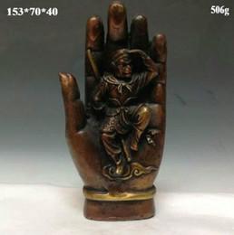 buddha handverzierung Rabatt Chinesische Bronzestatue --- Affe, der über der Buddha-Hand kämpft