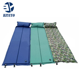 Wholesale Outdoor Pillows Blue - HZYEYO Automatic Inflatable Mattress Outdoor Camping Mat Pad Self-Inflating Moistureproof Picnic Tent Mat with Pillow 3 Collors