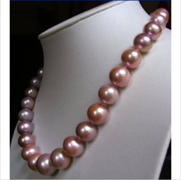 """Wholesale golden akoya pearls - 18"""" 10-11 MM AAA Akoya south sea puprle Pearl Necklace 14k yellow Golden Clasp @"""