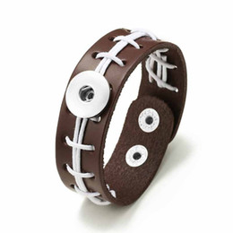 wholesale fashion football bracelet Coupons - USA Football Bracelet 315 Hand Woven Really Leather Retro Fashion Bracelet 18mm Snap Button Jewelry Charm Jewelry For Women Gift
