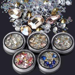 Wholesale Diamond Tips Nails - Nail Art Wheel Rhinestone Diamond Gems Crystal Glitter 3D Tips Accessoires Jewelry Manicure Tools Decoration DIY Design
