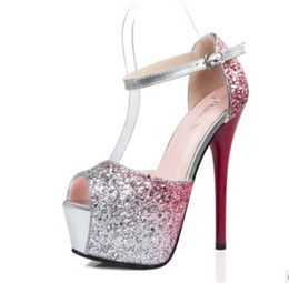 Wholesale High Heels Flashing - 3138-1 ultra high heels in Europe and the United States and sexy super flash club women's shoes waterproof platform with a thin, scoured fis