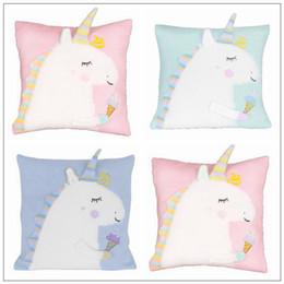 Wholesale Unicorn Plush Toys - 3 Colors 45*45cm Unicorn Doll Unicorn Plush Toy Cartoon Unicorn Pillow Cartoon Accessories Kids Xmas Gifts CCA9154 10pcs