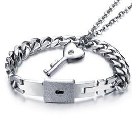 Wholesale Couples Lock Key Bracelet - Lovers Fashion Jewelry Sets Necklace Bracelet Set For Women Men Stainless Steel Couple Accessories Key Lock Pendants OGX001
