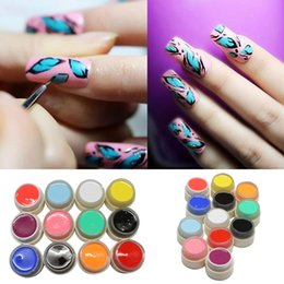 Wholesale Uv Inks - Art Nail 12 colors set Hot New Nail Art Design Color UV Soak Off Paint Color Gel Ink UV Gel For