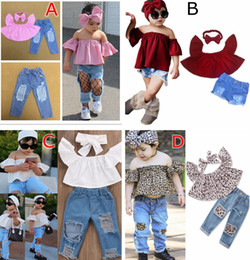 Wholesale 12 Month Boy Jeans - 1-7years 5styles INS summer girls leopard white pink Off shoulder Crop Tops tshirt & baby denim Hole Pants Jeans & baby bow Headband 3pc set