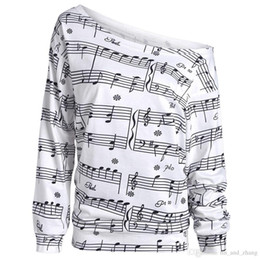 Wholesale Musical Prints - Casual New Spring Autumn Musical Notes Print Long Sleeve Sweatshirt Women Fashion Basic Casual Long Sleeve Print Tops