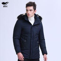 Wholesale Mens Fur Hood Parka - HAI YU CHENG Brand Fashion Fur Hood Thicker Winter Jackets Mens Warm Outwear Blue Zipper Coats Male Parka