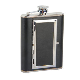 Mini frascos de cadera online-Frasco Creativo Cigarrillo Flagon Cuero Hip Frasco 6oz Whisky Licor Metal Frasco de Alcohol Botella de Licor de Metal Botella de Cuero