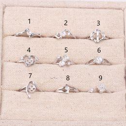 9PCS Anello Impostazione 925 Sterling Sliver Anello Holder Fashion Style Accessori nuovi arrivi per le donne Creazione di gioielli da regolazioni di cabochon dell'argento sterlina all'ingrosso fornitori
