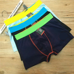 Wholesale Cotton Boxer Boy - Fashion Brands Boys Teenagers Underwear Underpants Sports Casual Cotton Mens Boxers Short Pants Solid Color Underwears Free Shipping 210