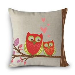 Wholesale Deco Birds - Wholesale- New arrivel home deco pillow owl bird Print Home Decorative Cushion Throw Pillow Vintage Cotton Linen Square Pillows MYJ-E6
