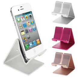 Wholesale Zte Blue - Universal Aluminum Metal Mobile Phone Tablet Holder Desk Stand for iPhone 7 Plus Samsung s8 plus ZTE Max XL with Retail package