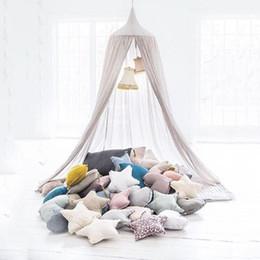 Algodão deco on-line-Lençóis de algodão Bebê Mosquiteiro Pendurado Cúpula Cama Cortina Para Sala de estar Sofá Casa Tenda Para O Bebê Kid Quarto Deco