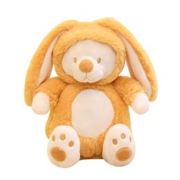 Wholesale Yellow Cute Teddy Bear - Cute Plush Bears 20cm 7.8 inch Stuffed Animal Bear Turn into Rabbit Doll Plush Toy Kids Gifts 4 Colors