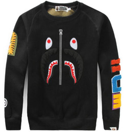 Wholesale Zipper Couple Hoodies - 2017 autumn new high-end men's brand T-shirt fashion short-sleeved T-shiMen 's Tide Shark Hoodie Men' s Tattoo Men 's Couples Hooded Jackets