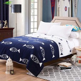 Wholesale Korean Bedspreads - Wholesale- MING JIE 2017 Fashion Cotton Blanket on the bed Korean Fish Zebra Sofa Travel Soft Bedspread Bedding Quilt Sheet 1pcs Hot sale