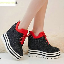 4274b83894ac Womens Bling Bling Lace Up Super High Heels Ankle Boots Wedge Platform  Party Punk Pumps Shoes Casual Sneakers silver wedge sneakers for sale
