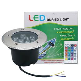 luz empotrada led de piso Rebajas Luz LED subterránea RGB enterrada al aire libre 9W AC85-265V lámpara de pie impermeable paisaje escalera luz DHL envío gratis