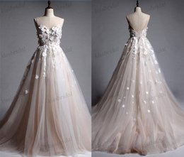 Wholesale Magic Wedding Dresses - Magic Show Only Blush Champagne 2018 Lace Wedding Dresses Real Photos Boho 3D Floral Bridal Gowns Sheer Jewel Neck Lace Up Back