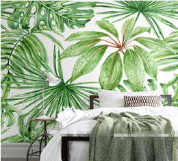 Wholesale Green Living Houses - Green tropical leaves poster mural wallpaper for living room wall decoration wholesale free shipping discount wallpapers