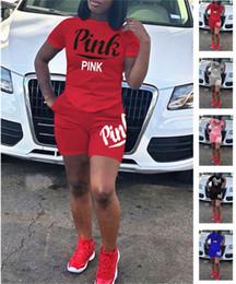 Wholesale Love Pink T Shirts - Love PINK Women Shorts Suit 2pcs Tracksuits Jogger Outfits Set Pink Letter Short Sleeve T Shirt+Shorts Plus Size Summer Outwear Clothes