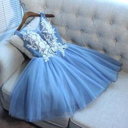 homecoming corset tulle vestidos cortos Rebajas Vestidos de fiesta cortos de regreso a la rodilla de tul azul cielo 2019 Vestidos de fiesta de cóctel de regreso a la pequeña corsé de cuello en V espalda corto BA9921