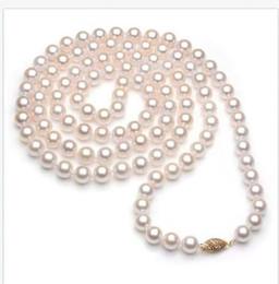 Canada Collier de perles Akoya parfaites de 36 pouces 9-10mm AAAAA avec fermoir en or jaune de 14 carats cheap akoya perfect white pearl Offre