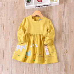 Wholesale korean winter dresses - Girls Cartoon Applique Ruffles Dress Sweet Baby Candy Color Clothes Princess Korean Fashion Autumn Clothing B11